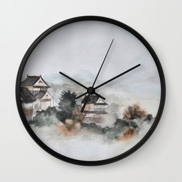 Japanese ancient city in fogging day Wall Clock