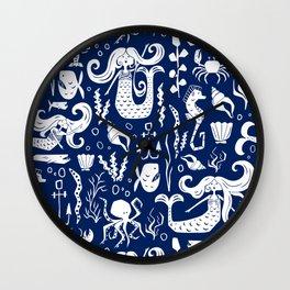 Under The Sea Navy Blue Wall Clock