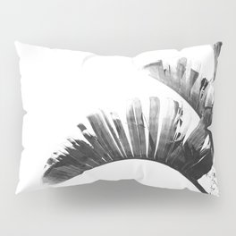 Palm leaves black and white tropical watercolor Pillow Sham