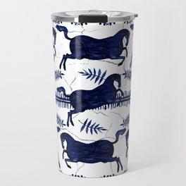 Ancient Greek Fresco - Navy Travel Mug