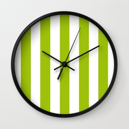Limerick green - solid color - white vertical lines pattern Wall Clock