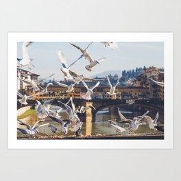 Seagulls Attack!! Art Print