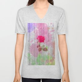Pink watercolor rose flowers rustic white wood Unisex V-Neck