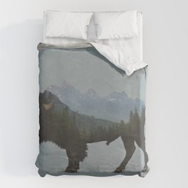 Wyoming Bison Flag Duvet Cover