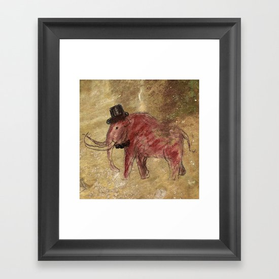 Cave art vintage mamut. Framed Art Print