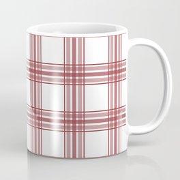 Farmhouse Plaid in Brick Red and White Coffee Mug