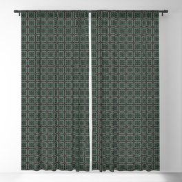 A mosaic in green and light brown lines Blackout Curtain