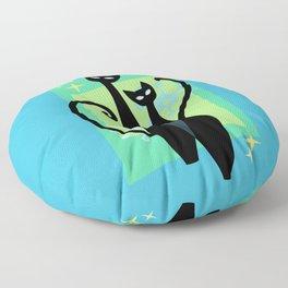Sassy Sparkling Atomic Age Black Kitschy Cats Floor Pillow