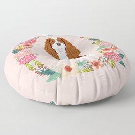 Cavalier king charles spaniel blenheim white dog floral wreath dog gifts pet portraits Floor Pillow