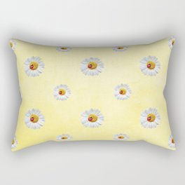 Daisies in love- Yellow Daisy Flower Floral pattern with Ladybug Rectangular Pillow