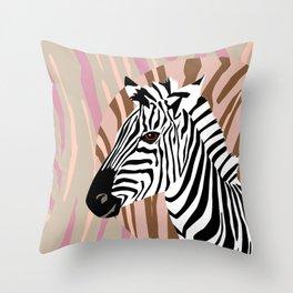 Zebra in trendy colors Throw Pillow