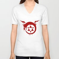 fullmetal V-neck T-shirts featuring Ouroboros by KanaHyde