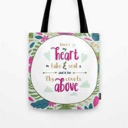 """""""Here's My Heart"""" Hymn Lyric Tote Bag"""