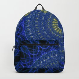 Mandala in dark blue tones with yellow flower Backpack