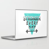 crossfit Laptop & iPad Skins featuring Stronger Every Day (barbell) by Lionheart Art