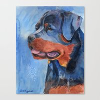 rottweiler Canvas Prints featuring Rottweiler by Doggyshop