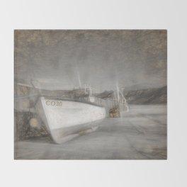 Fishing Boat in Nefyn Throw Blanket