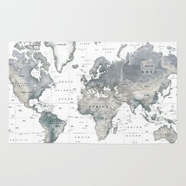 The World [Black and White Relief Map] Rug
