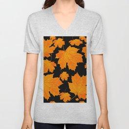 Orange Maple Leaves Black Background #decor #society6 #buyart Unisex V-Neck