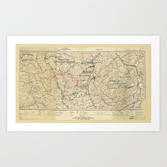 World War I German Army Positions Map (circa 1918) by thearts