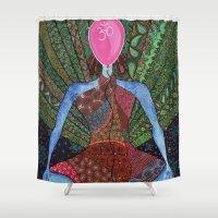 yoga Shower Curtains featuring yoga by mawilda