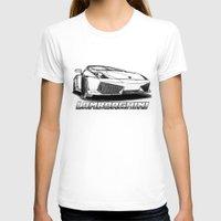lamborghini T-shirts featuring Lamborghini line drawing by JT Digital Art