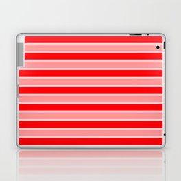 Large Horizontal Christmas Holiday Red Velvet and White Bed Stripe Laptop & iPad Skin