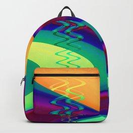 Curvy Neon Fractal Art Backpack