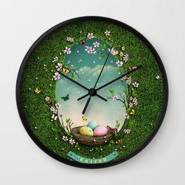 Nest bird eggs Wall Clock