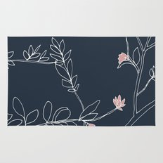 Flora, White and Pink on Navy Blue Rug