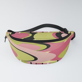 Contemporary Circles and Stripes Pattern in Hot Pink Neon Green and Black Fanny Pack