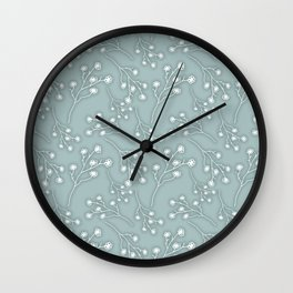 Baby's Breath Flower Pattern - Grey Green Wall Clock