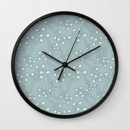 Baby's Breath Flower Pattern - Grey Green Wall Clock