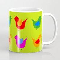 scandinavian Mugs featuring Scandinavian Birds by The Red Umbrella Shop