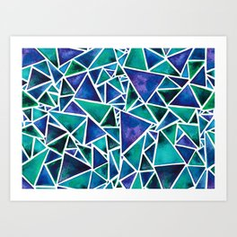 Geometric Turquoise and Blue Triangles Art Print