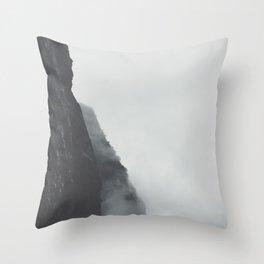 Landscape Photography Misty Grey Sea Cliffs Throw Pillow