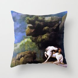 A Lion Attacking A Horse - George Stubbs Throw Pillow