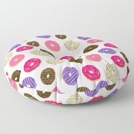 Modern cute pastel hand drawn donuts pattern food illustration Floor Pillow