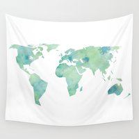 globe Wall Tapestries featuring Watercolour Globe by Patrick Dos Santos