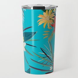 Frangipani, Lily Palm Leaves Tropical Vibrant Colored Trendy Summer Pattern Travel Mug