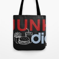 junk food Tote Bags featuring I HEART Junk Food by HemantS