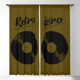Retro record music logo Blackout Curtain