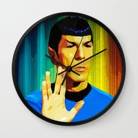 spock Wall Clocks featuring Spock by The Art Of Gem Starr