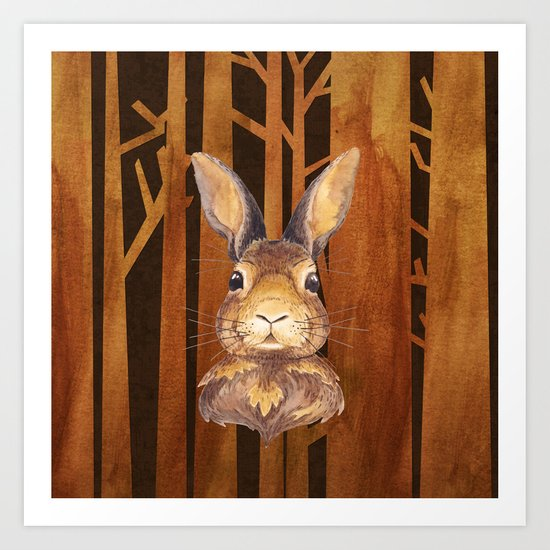 Rabbit in the forest- abstract animal hare watercolor illustration Art Print
