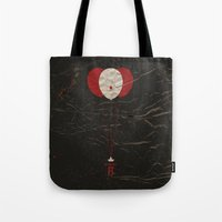 pennywise Tote Bags featuring Pennywise the Clown - Stephen King's IT Inspired vintage movie poster by Dan Howard