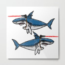 Sharks With Friggin' Laser Beams Attached to Their Heads Metal Print