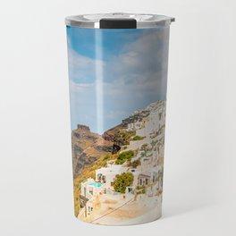 The beautiful white village of Fira, Santorini, Greece. Toned Travel Mug