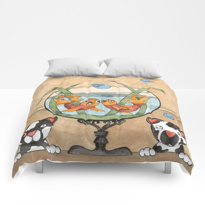 kittens by the fish bowl Comforters