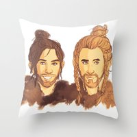 fili Throw Pillows featuring Fili & Kili Manbuns by rdjpwns