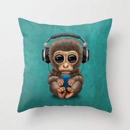 Cute Baby Monkey With Cell Phone Wearing Headphones Blue Throw Pillow